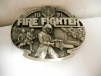 Arroyo Grande American Fire Fighter Limited Edition Pewter Belt Buckle 1991