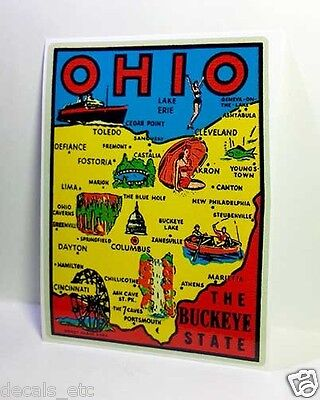 Ohio The Buckeye State Vintage Style Travel Decal / Vinyl Sticker, Luggage Label
