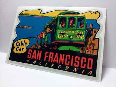 San Francisco Cable Car Vintage Style Travel Decal / Vinyl Sticker,Luggage Label