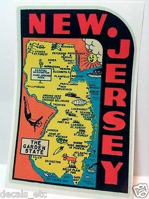 New Jersey Vintage Style Travel Decal / Vinyl Sticker,Luggage Label