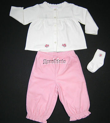 NEW Janie and Jack Signature Layette 3pc Outfit Set Pink Roses 12 18 Mo NWT