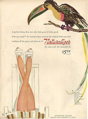 1944 Naturalizer Shoes PRINT AD Great Fun ad features Shoes & Tucan