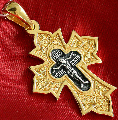 OLD STYLE RUSSIAN ORTHODOX ICON CROSS, SILVER 925+GOLD 18K.CHRISTIAN JEWELRY !!!