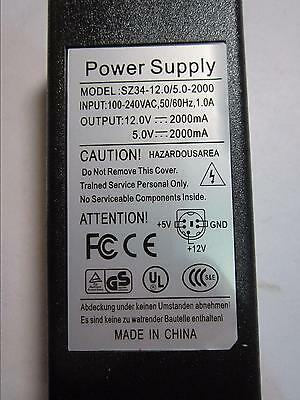 12V 2A 5V 2000mA GND 5 Pin DIN AC Power Adaptor same as WATTAC BA0362ZI-8-A01