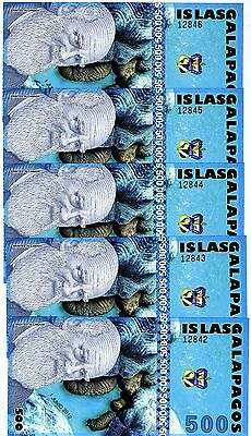 LOT, Galapagos Islands, 5 x 500 Sucres, 2012, UNC > Holographic Strip