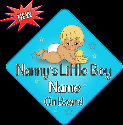 Personalised Baby On Board Car Sign ~ Nannys Little Boy New Baby Blue