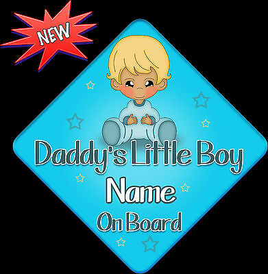 Personalised Baby On Board Car Sign ~ Daddys Little Boy New Baby Blue