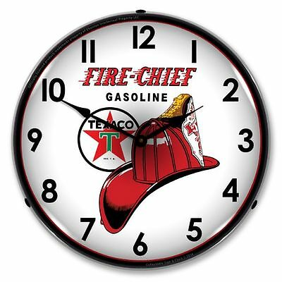 New Texaco Fire Chief Retro Advertising Backlit Lighted Clock - Free Shipping*