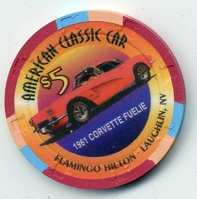 FLAMINGO HILTON LAUGHLIN 1961 CORVETTE   $5 CASINO CHIP