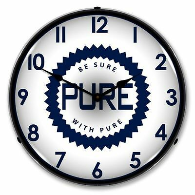New Pure Oil Gas  Retro  Backlit Lighted Clock - Free Shipping* & Handling