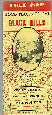 Vintage Map and Guide to Black Hills South Dakota Rapid City Custer Deadwood