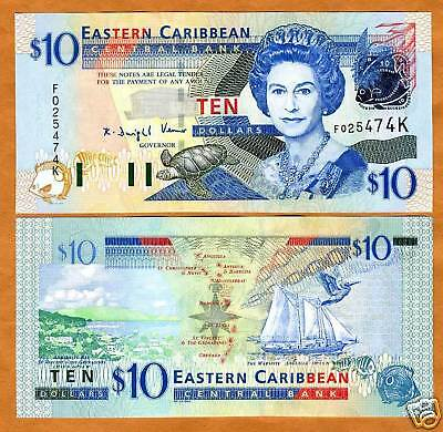 Eastern East Caribbean $10 (2003) St. Kitts, P-43k UNC