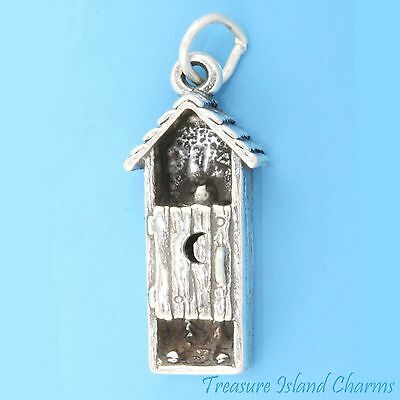 Cowboy in Outhouse Toilet 3D 925 Solid Sterling Silver Charm Pendant MADE IN USA