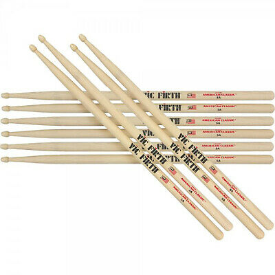 Vic Firth VF-5A Hickory Wood tip Drum Sticks Five Pair Offer