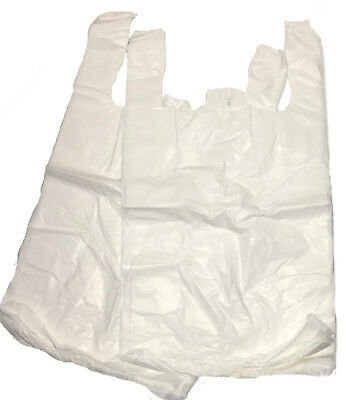 "Strong White Carrier Bags Vest XXL Large Jumbo 18mu 12x18x23"" Select Size & Qty"