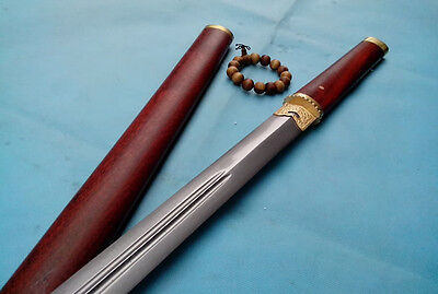 Blind Tang sword pattern-welded steel double-grooved blade rosewood scabbard