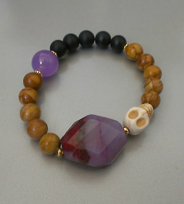 Simple wood beads purple gemstone skull Hawaiian beach Bracelet-Made In Hawaii