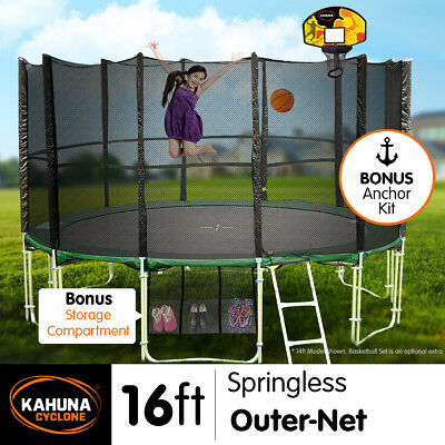 16ft 12-POST SPRINGLESS TRAMPOLINE FREE SAFETY NET+PAD+MAT+LADDER+Anchor Kit
