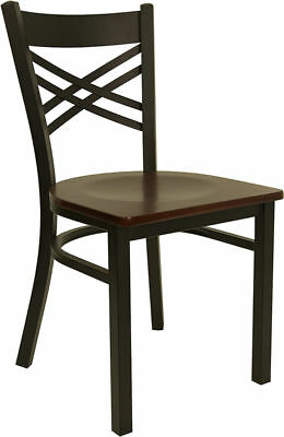 Metal X Back Restaurant Chair with Mahogany Wood Seat