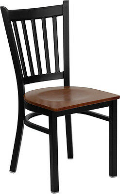 Metal Vertical Slat Back Restaurant Chair with Cherry Seat