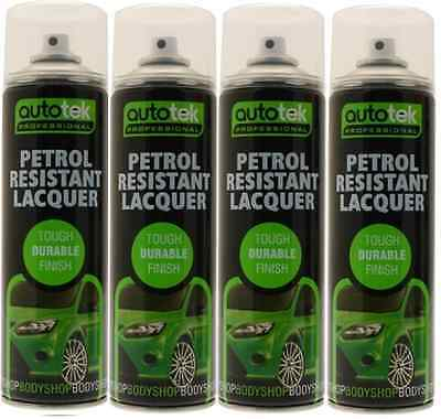 4 x PETROL RESISTANT LACQUER PAINT SPRAY 500ML HIGH GLOSS