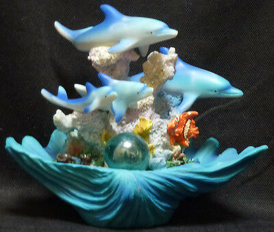 """DOLPHIN PEARL   Pod  on Shell & Coral   Statue Figurine   W8.25"""" x H6.5''"""
