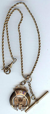 Antique 10K Gold Fraternal Order Of Eagles Foe Watch Fob With Talons & Chain