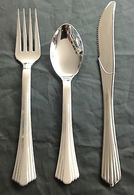 48 pc silver secret plastic single use cutlery 16 spoons 16 forks 16 knives
