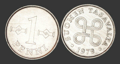 1979 Finland 1 Penni Coin UNC From Mint Roll KM # 44a