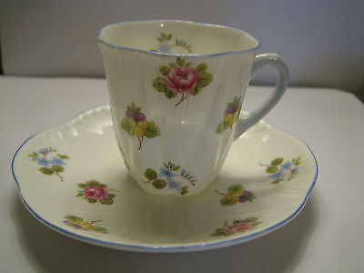 Shelley England Mini Dainty Tea Cup & Saucer Set Pansy Rose Forget me Not Floral