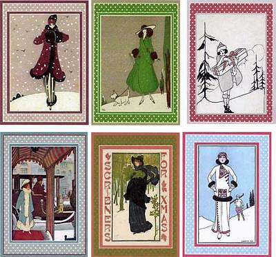 Vintage inspired art deco fashion winter ladies magazine cover small cards