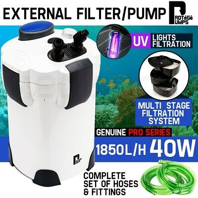 Aquarium External Canister Filter Aqua Fish Tank Pond Pump UV Light 1850 L/H