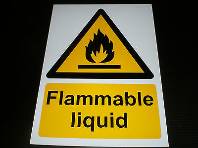 Flammable Liquid Plastic Sign Or Sticker Choice Of Sizes Warning Danger Fire