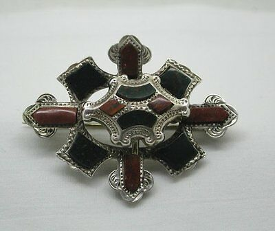 Beautiful Vintage Scottish Silver And Agate Plaid Brooch