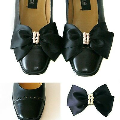 Black Satin Big Bow Pearl Shoe Clips Glamour Ribbon Charms Ornaments Accessory