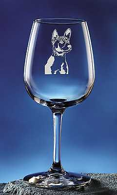 Personalized Basenji Two Pet Dog Etched Wine Glass 12.75oz