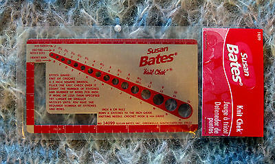 Susan Bates Knit Chek - Gives Needle/hook Sizes - Inches/cm- Swatch Ruler Gauge