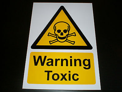 Warning Toxic Plastic Sign Or Sticker Choice Of Sizes Chemical Hazard