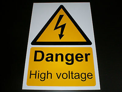 Danger High Voltage Plastic Sign Or Sticker Choice Of Sizes Electrical Shock