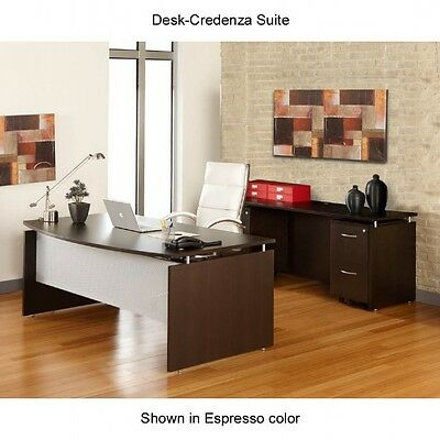 Laminate Office Desk W/ Credenza And Floating Top Style In Espresso Finish