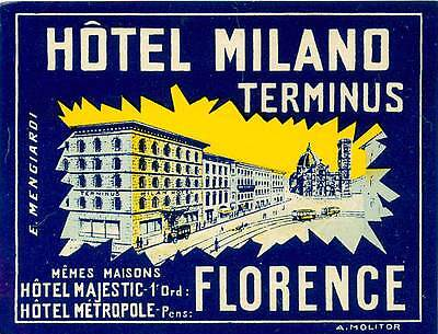FIRENZE FLORENCE ITALY HOTEL PENSIONE CASTRI OLD LABEL