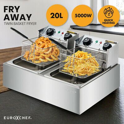 NEW EuroChef Commercial Electric Deep Fryer Twin Frying Basket Chip Cooker Fry