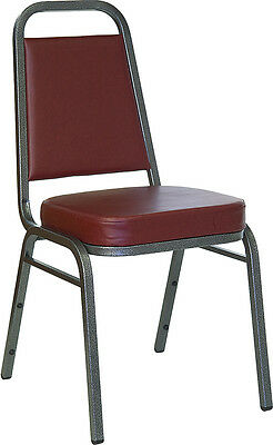 Thickly Padded Burgundy Vinyl Banquet Stack Chair with Silver Frame