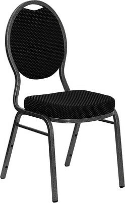 Black Patterned Fabric Teardrop Back Silver Frame Banquet Stack Chair