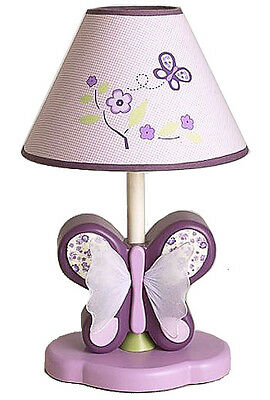 Sugar Plum Cute Pink and Purple Girls Floral Butterfly Lamp and Shade by Cocalo