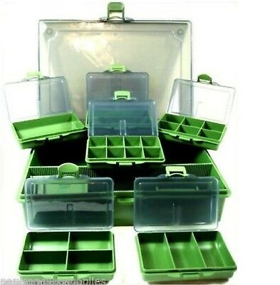 Fishing Tackle Bit Box System 6 Small + 1 Large for hooks swivels rigs shot etc