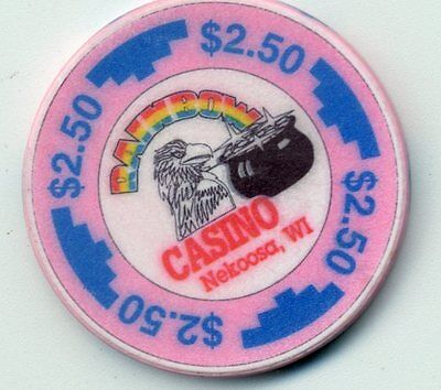 Rainbow  $2.50  Wi. Obsolete  Casino Chip Nekoosa  Wisconsin