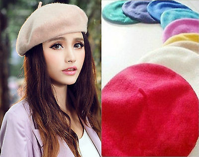 Unisex Men Women Ladies Girls Wool Warm Beret Beanie Hat Cap French Style UK