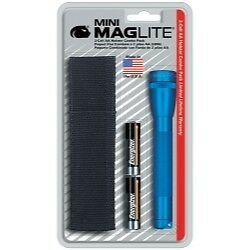 Mini-MagLite Blue Flashlight Kit with Holster and 2 AA Batteries MAGM2A11H