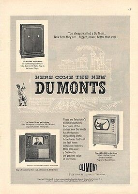 1950 Dumonts PRINT AD Television TV Features 3 great models